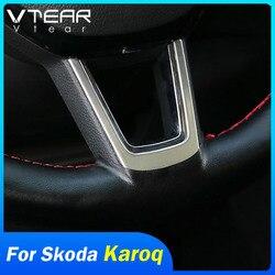 Vtear for Skoda Karoq Steering Wheel Trim Sequin Cover Chrome Emblem Insert Trim Cover Interior Parts Accessories Car-styling
