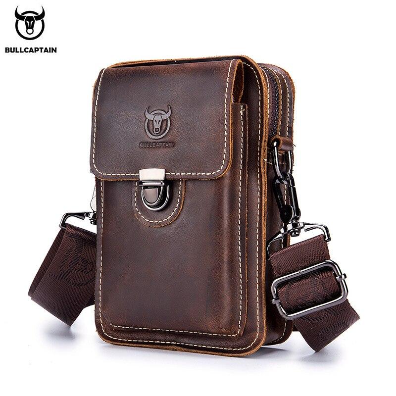 BULLCAPTAIN Crazy Horse Leather Male Waist Pack Phone Pouch Bags Waist Bag Men's Small Chest Shoulder Belt Bag Back Pack075