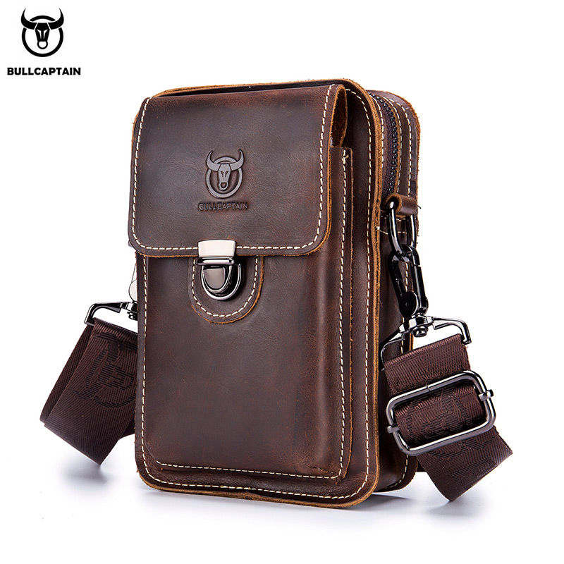 BULLCAPTAIN100% Crazy Horse Leather Male Waist Pack Phone Pouch Bags Waist Bag Men's Small Chest Shoulder Belt Bag Back Pack075