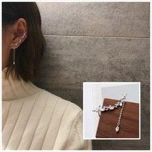 Korean earrings 2019 s925 silver needle tassel long fashion beautiful leaf crystal womens hot sale