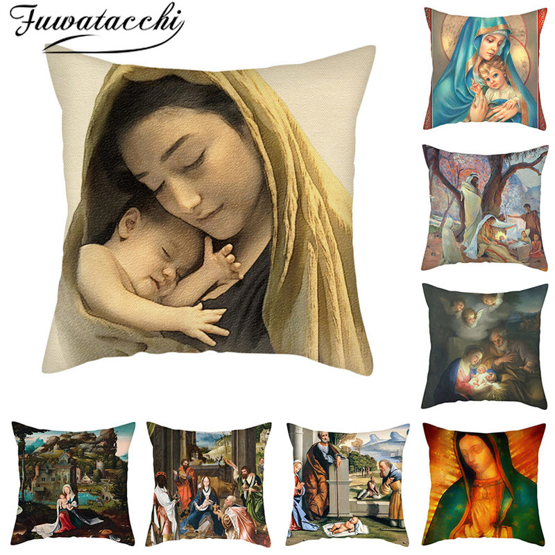 Fuwatacchi Oil Painting Cushion Cover European Mom And Children Godfather Pillow Cover Home Sofa Car Decor Throw Pillowcase