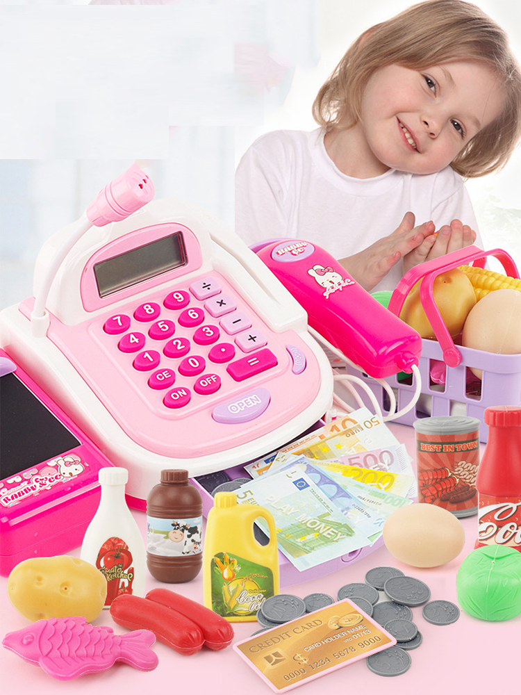 Pretend-Play-Toys Cash Register Money Kids Supermarket Children with Learning-Education-Toys