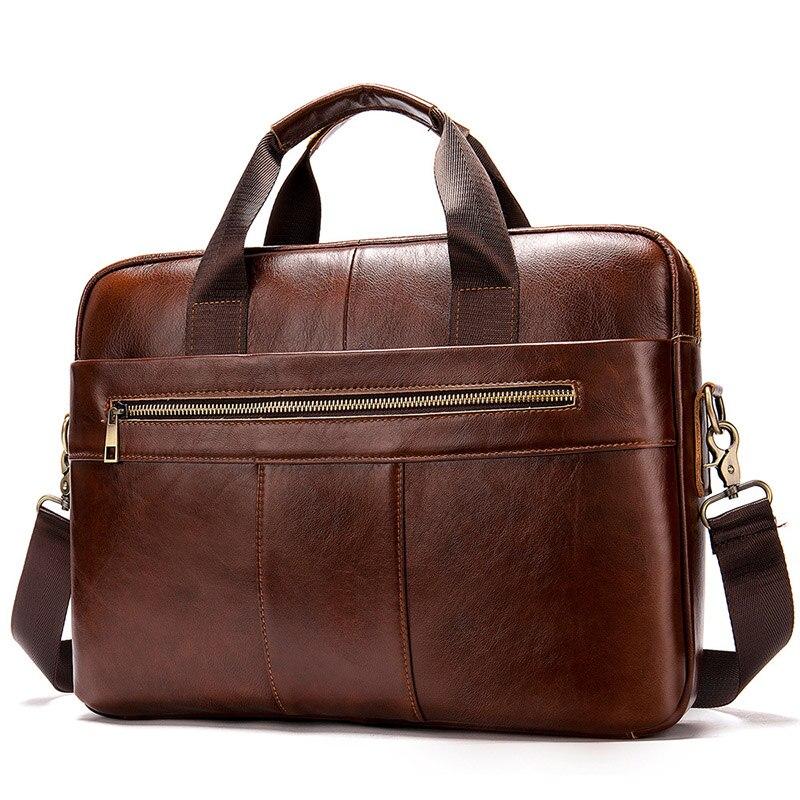 Genuine Leather Men Briefcase Vintage Classic Men's Messenger Bag Male Laptop Bag Business Natural Cowhide Leather Shoulder Bag