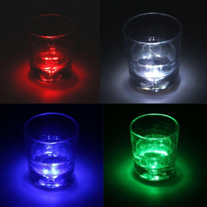 Cool Flash Luminous Bottle Cup Mat Coaster 3 LED Lights Cup Sticker LED Light Home Party Bars Light Decoration  With Battery