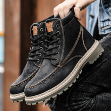 Autumn and winter high-top Martin boots wild British style men's casual tooling leather boots warm men's shoes