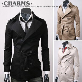 England MEN'S Windbreaker Korean-style Pure Cotton High Quality Trench Coat Mid-length Men'S Wear