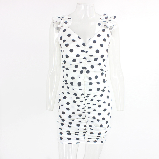 Justchicc Black White Polka Dot Dress One Shoulder Short Sleeve Ruffles Summer Dress Ladies Ruched Mini Dress Women Vestido 2020 5
