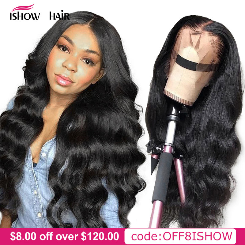 Ishow Body Wave Lace Front Human Hair Wigs 360 Lace Frontal Wig Pre Plucked 13x4 13x6 Lace Front Wig Remy Brazilian Hair Wigs(China)