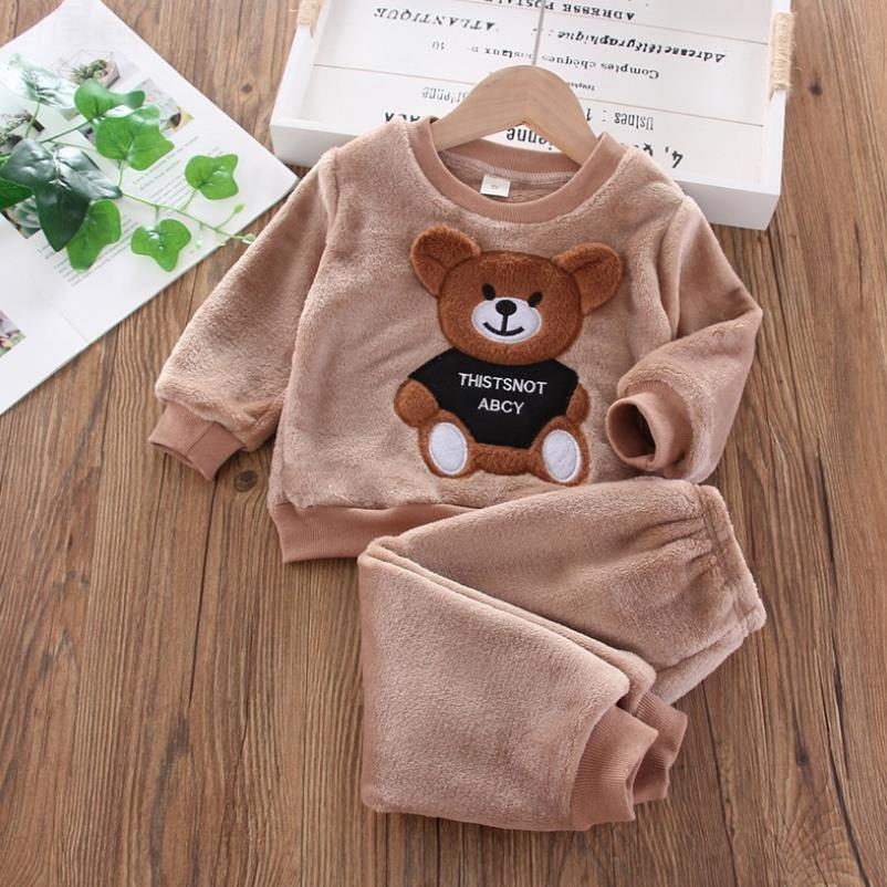 Baby Boy Winter Sets Plush Hooded Jacket 2pcs Children's Casual Outfit Suits Kids Arctic Velvet Tracksuit Toddler Girl Clothing 5