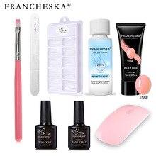 8Pcs/Set FRANCHESKA Manicure Duble-ended Brush Crystal Multicolor Exension Gel Manicure Set