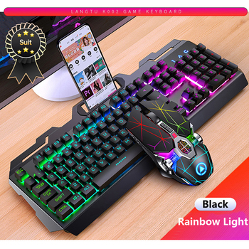 цена на LED backlight Keyboard Gaming Wired Gaming mechanical keyboard Silent Set For Laptop PC gamers backlit illuminated keyboard