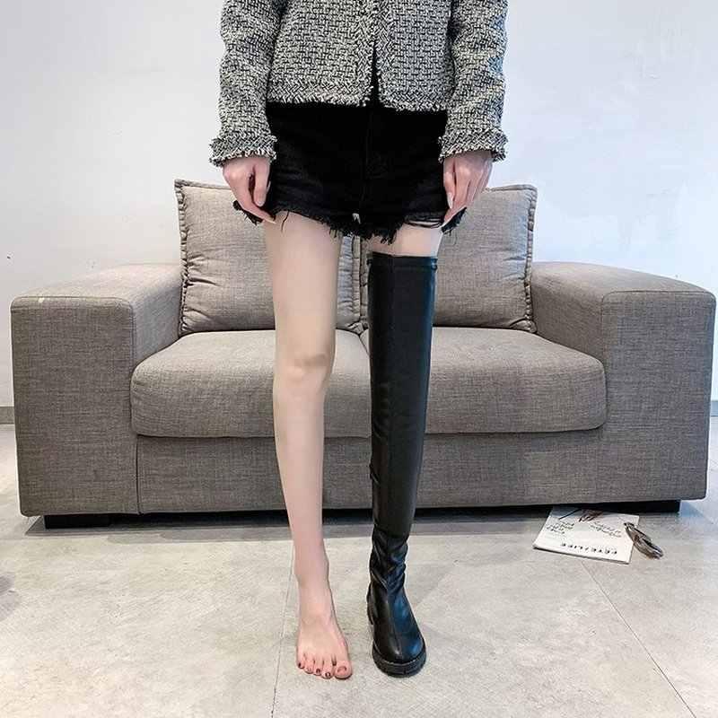 """Phụ nữ trên đầu gối Giày Boots cao thu Đấu sĩ Boot người phụ nữ Mũi tròn chun thấp gót da PU mujer """"zapatos HP2360"""