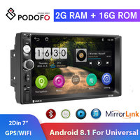 Podofo 2din Car Radio Android8.1 GPS Navi WiFi Car Multimedia Player 2DIN 7 HD Autoradio Universal TF USB Bluetooth Mirrorlink