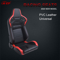 R EP Adjustable Racing Seat Universal for Sport Car Simulator Bucket Seats Black Red PVC Leather XH 1054 BR