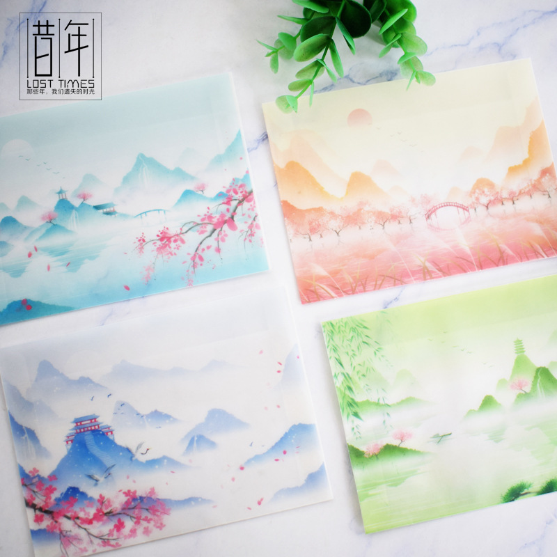 Year Creative Translucent Sulfuric Acid Paper Envelope Postcard Cards Writing Paper Storage Bag Antique Style Color Waterproof E