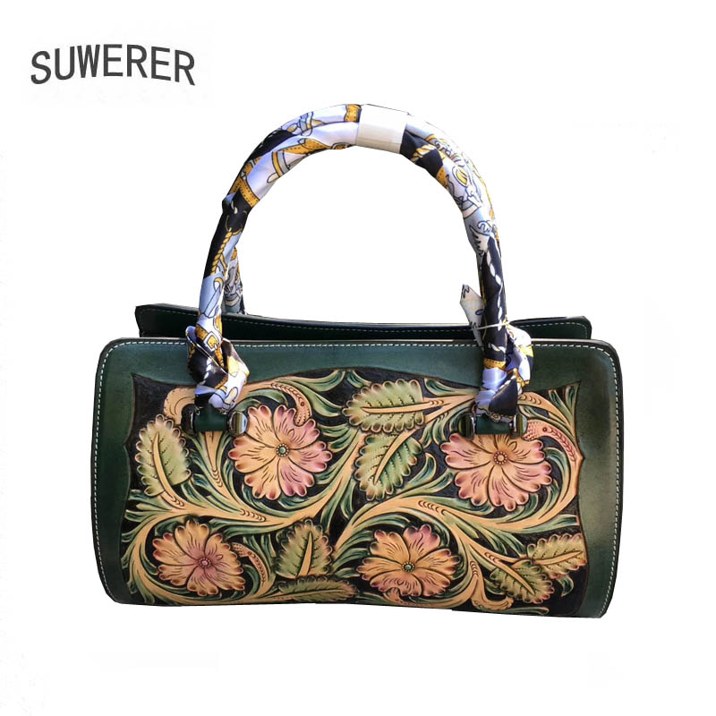 Image 5 - SUWERER 2020 New Women Genuine Leather bag Luxury handbags women famous brand leather bag  Hand carved tote bagsTop-Handle Bags   -