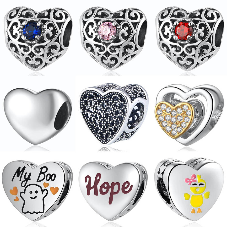 Authentic 925 Sterling Silver Bead Heart Birthstone My Boo Hope Chick Romance Joined Charm fit Lady Bracelet DIY Jewelry(China)