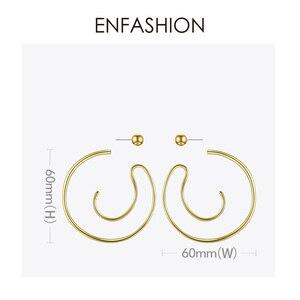 Image 4 - Enfashionビッグサークルフープイヤリング女性のアクセサリーゴールドカラー声明ボール曲線フープイヤリングファッションジュエリーE191122