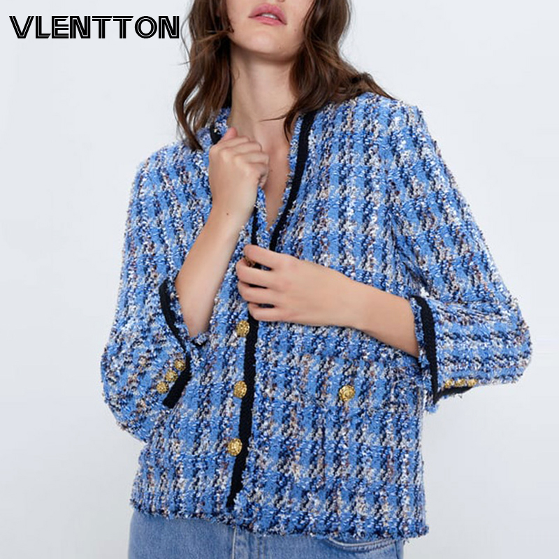 2020 Spring Autumn Vintage Blue Plaid Tweed Jacket Coat Female Chic Button V-Neck Jackets Outwear WomanTops Chaqueta Mujer