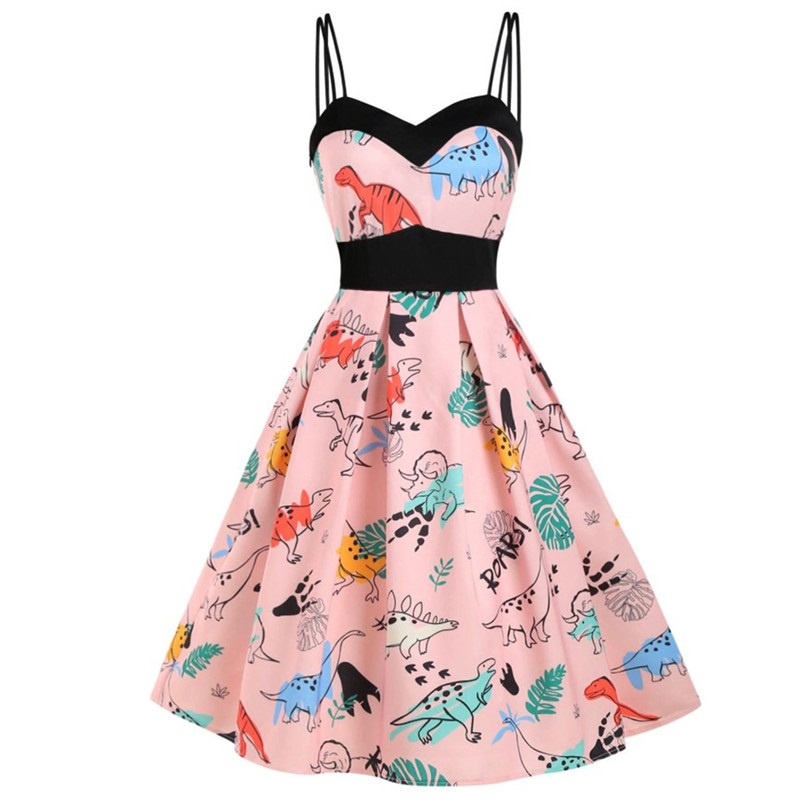 Vintage Print Spaghetti Strap High Waist Pleated Pin Up Swing Dress