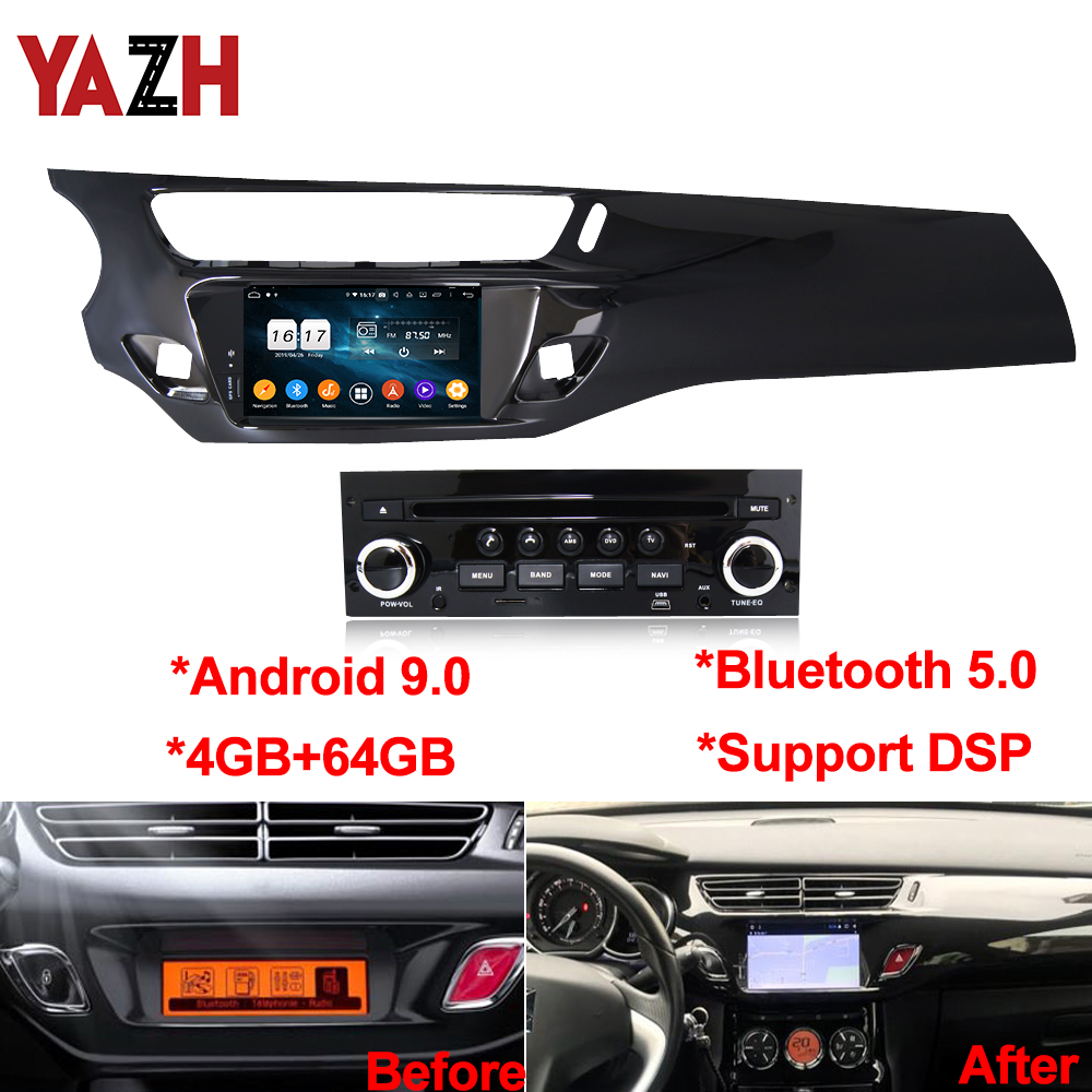 YAZH Android 9.0 4+64GB Car Radio Multimedia For Citroen C3 DS3 2010 2012 2011 2013 2014 2015 2016 GPS Navigation DSP Head Unit