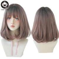 7JHH-Peluca de pelo liso corto para mujer, peluquín de Lolita con flequillo sintético para mujer, Cosplay de Navidad, peluca sin pegamento resistente al calor