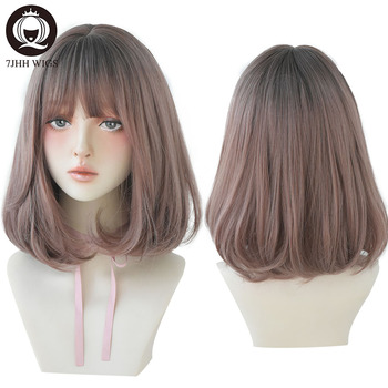 цена на 7JHH Pink Linen Short Straight Hair Lolita Wig With Bangs Synthetic Wigs For Women Christmas Cosplay Heat Resistant Glueless Wig