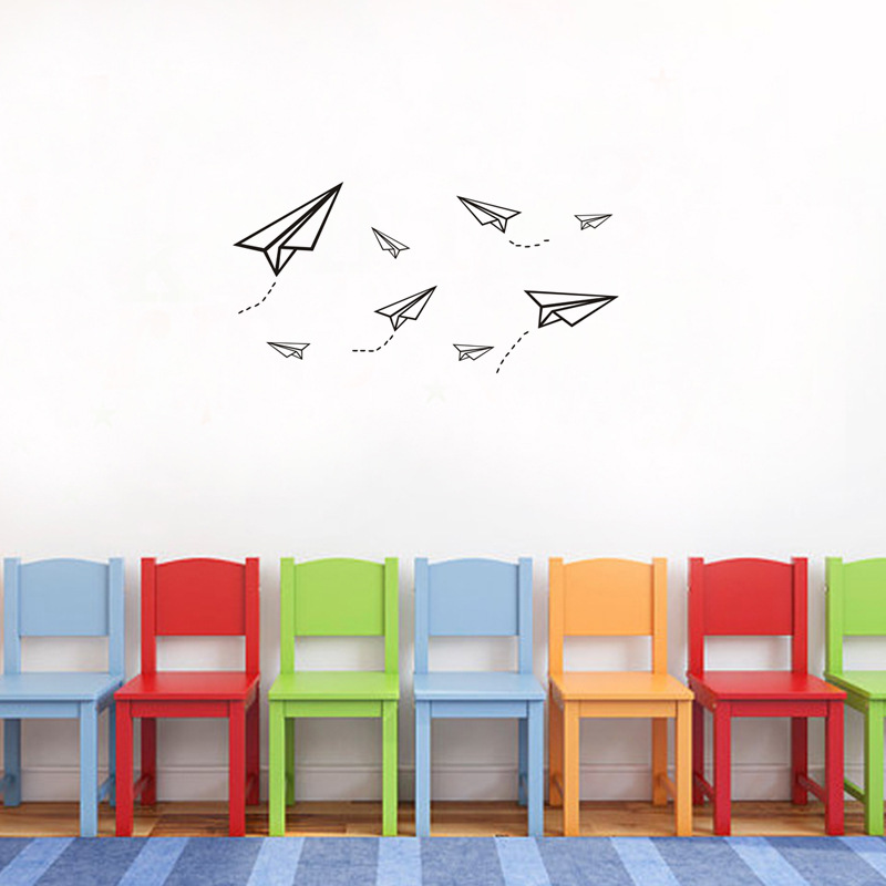 Cartoon Paper Airplane Wall Stickers Funny Toy Art Wall Decals for Kids Rooms Bedroom Nursery Home Decor AF2462 image