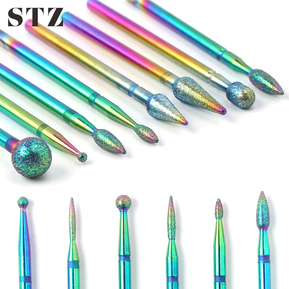 STZ 1pc Milling Cutters For Manicure Diamond Nail Drill Bits Ball Flame Rotary Burr Grinder Cuticle Removal Nails Tools #1514-3