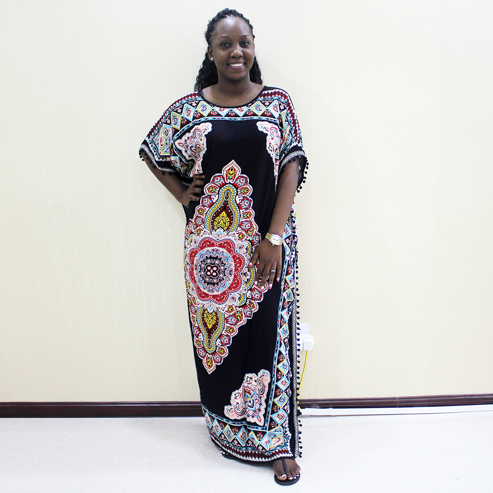 Dashikiage 100% Cotton Black Pompom Traditional Print Bohe Casual Dresses For Women