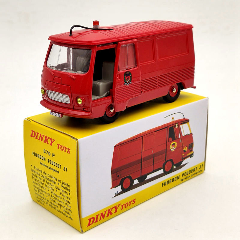 Atlas 1:43 Dinky Toys 570 P Fourgon Peugeot J7 Version Pompiers Diecast Models Car Gifts