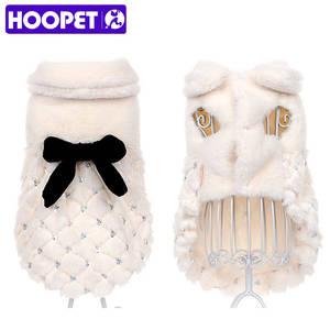 HOOPET Cat Overcoat Small Dog Chihuahua Luxury Winter Fur Bowknot Elegant