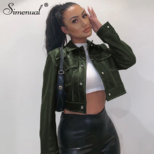 Simenual Faux PU Leather Grunge Women Jackets Long Sleeve Pockets Fashion 2019 Outerwear Solid Slim Button Casual Cropped Coats