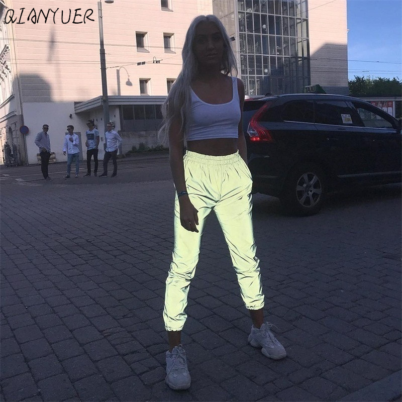 Flash Reflective Jogger Pants 2020 Autumn Winter Women Casual Gray Solid Streetwear Trousers