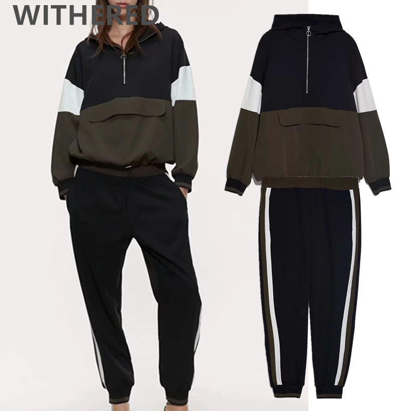 Withered 2020 Spring England Vintage Kangaroo Hoodies Sweatshirt Hogger Pants Two Piece Set Conjuntos De Mujer Tracksuit Women