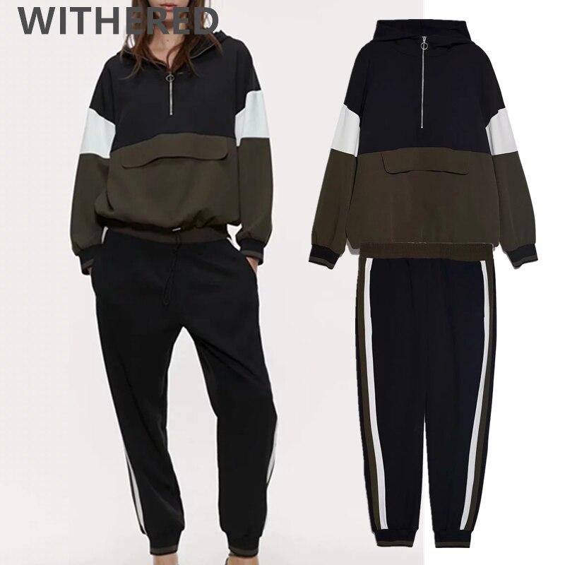 Withered 2020 Spring England Vintage Kangaroo Hoodies Sweatshirt Hogger Pants Two Piece Set Conjuntos De Mujer Tracksuit Women