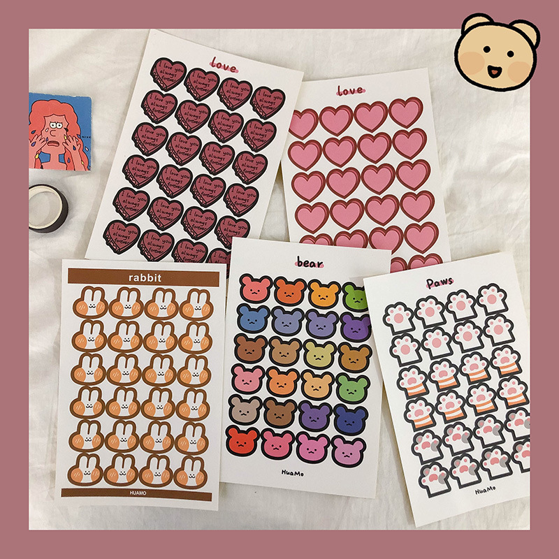 24Pcs/Lot Cartoon Cute Korea Style Ins Heart Rabbit Bear Sticker DIY Scrapbooking Album Diary Planner Decoration Stickers