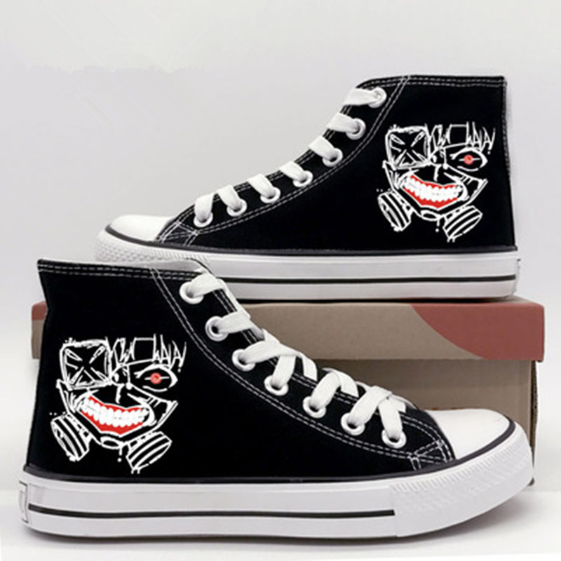 Anime Tokyo Ghoul Cosplay Anime Canvas Shoes Cos Kaneki Ken Unisex Campus Personality Flats High Help Shoes Comfortable Shoes