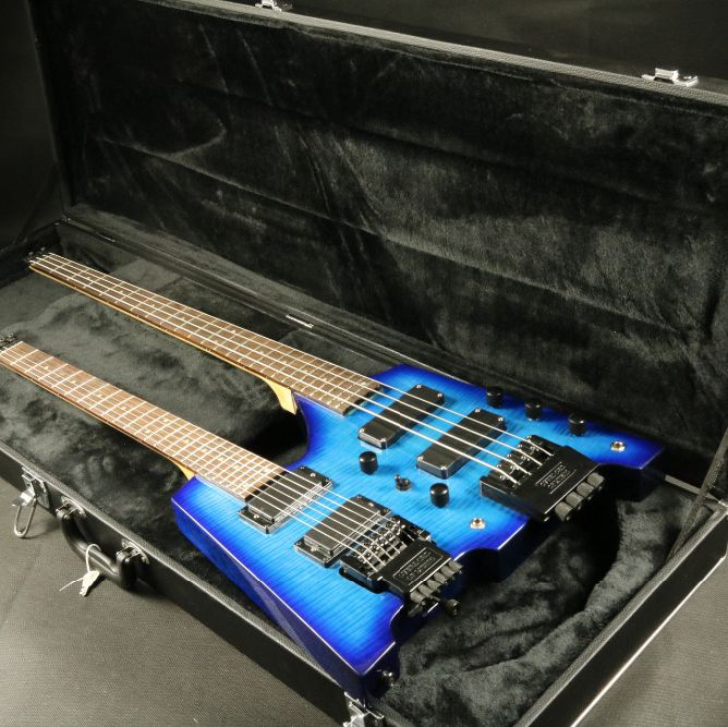 In Stock Blue Flamed Maple Top Double Neck Headless Electric Guitar Bass Guitar Guranteed Quality Free Shipping