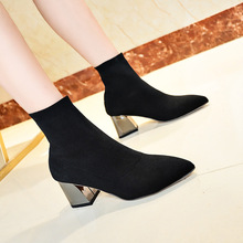 Europe 2019 Luxury Sexy Women Boots Ankle High-heel Shoes Wo
