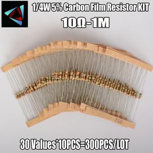 1 Pack 300Pcs 10 -1M Ohm 1/4w Resistance 5% Carbon Film Resistor Resistance Assortment Kit Set 30 Kinds Each 10PCS