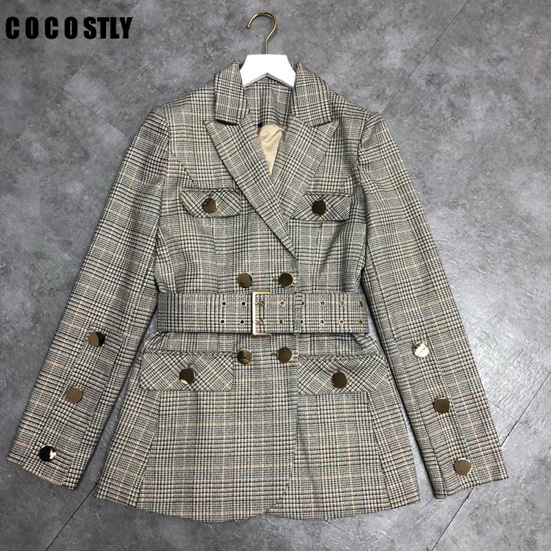 Elegant Plaid Blazer Women Notched Collar Long Sleeve Sashes Double Breasted Coats Female Office Lady Suit Jacket Clothing 2019