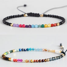 Pulseira de pedra lucky, bracelete de miçangas pequenas e multicoloridas, boêmia chakra, presente para mulheres e férias, 2020
