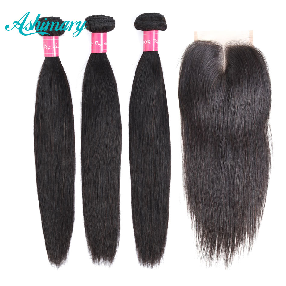 Ashimary Straight Hair Bundles With Closure Remy Human Hair 3 Bundles With Closure Peruvian Hair Bundles With Closure