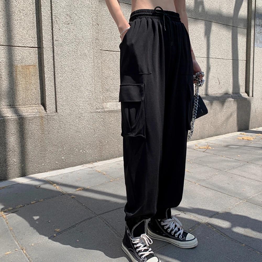 Casual Overalls Women Casual Jogging Pants Black High Waist Loose Pants Korean Street Fashion Women S Pants Slacks Trousers 2020 Pants Capris Aliexpress