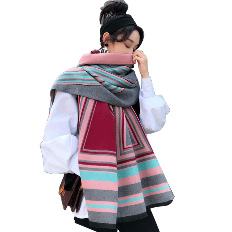 2019 Thick Faux Cashmere Fashionable Patchwork Scarfs For Women Winter Poncho Feminine Coat Scarf Women's Tippet Shawl Pashmina