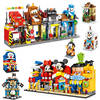 4 pz/set Disney Pixar Cars 2 Mickey Minnie Elsa Castle One Piece Pirate Shop Store Street View Captain America Building Blocks