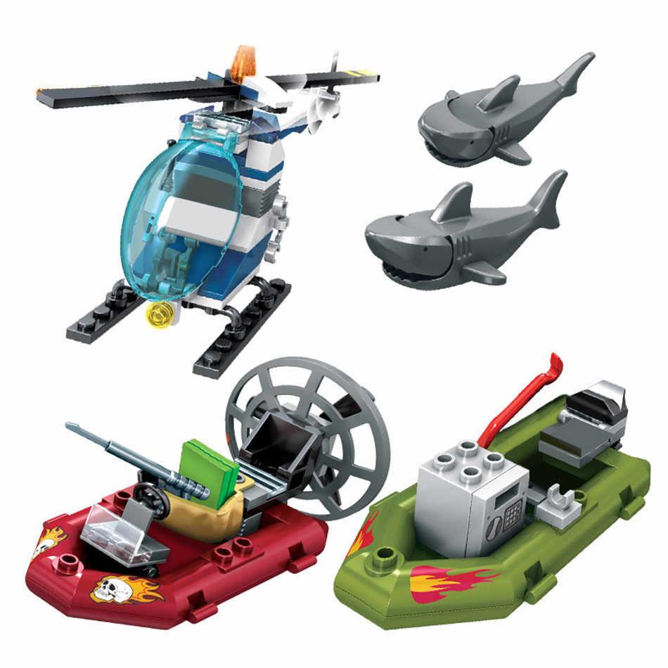 Construcción de la estación de policía para niños, 869 uds, barco de bloques de construcción, ciudad, avión, barco, helicóptero, modelo, piezas, juguetes educativos