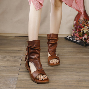 Genuine Leather Hemp Rope Strap Lady Flat Sandals Shoes Summer 2020 New Women Sandals Retro High-Top Gladiator Sandals For Women