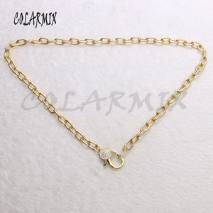 Image 2 - 5 strands clasp necklace cubic zircon clasp lobster necklace mix colors crystal chain necklace for women fashion jewelry  7167
